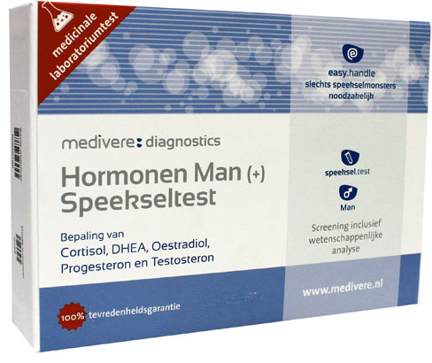 Hormonen Man Plus speekseltest (cortisol, DHEA, estradiol, progesteron testosteron)
