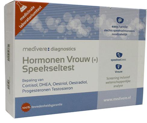 Hormonen Vrouw Plus speekseltest (cortisol, DHEA, oestradiol, oestriol, progesteron testosteron)